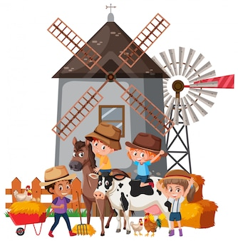 많은 어린이와 농장 동물이있는 장면