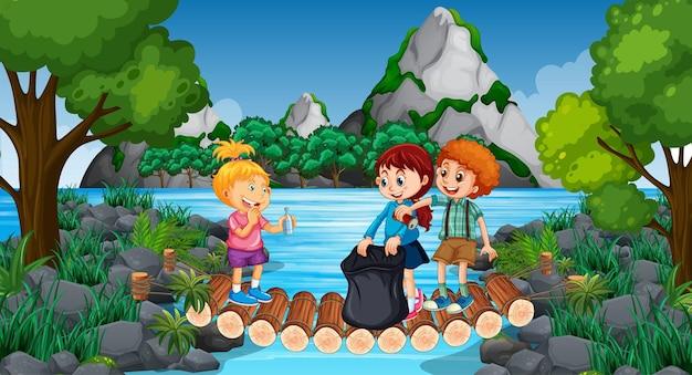 많은 아이들이 공원에서 청소하는 장면