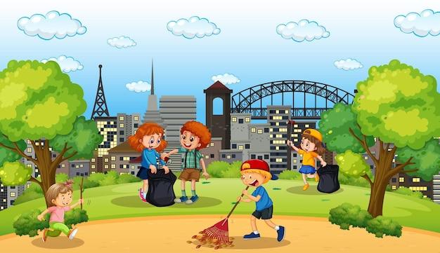 公園でたくさんの子供たちが掃除をしているシーン