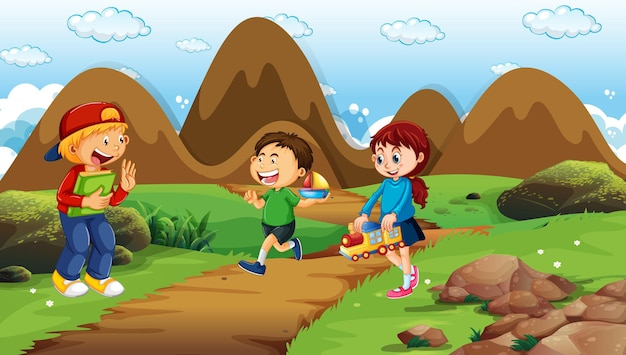 공원에서 많은 아이들이있는 장면