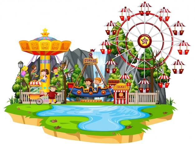 Scene with many children playing rides in the funpark