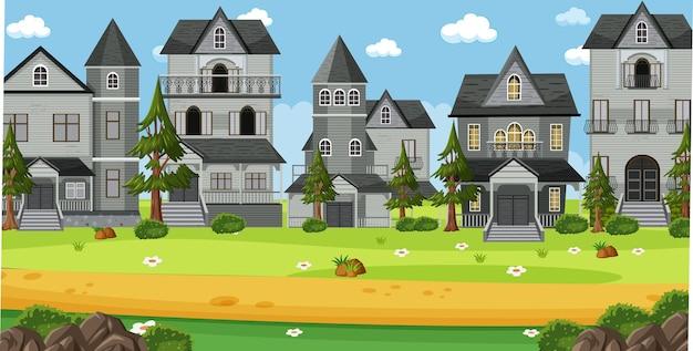 Сцена со многими колониальными зданиями в дневное время