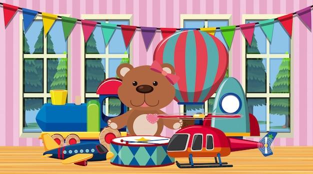Сцена с множеством милых игрушек в комнате