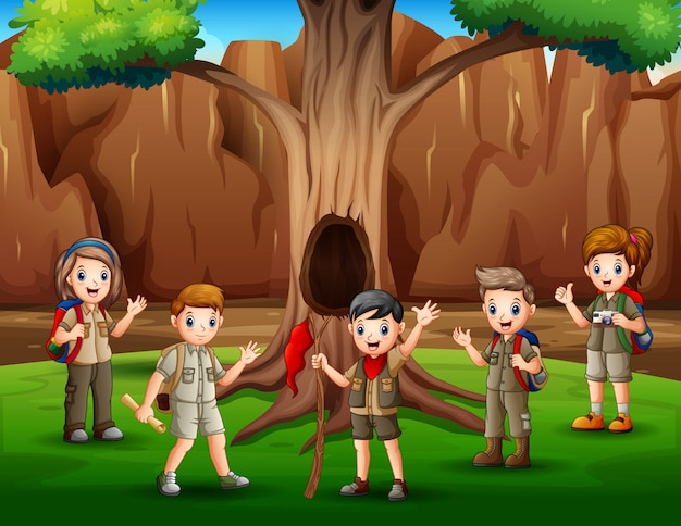 Scene with many kids in scout uniform hiking illustration