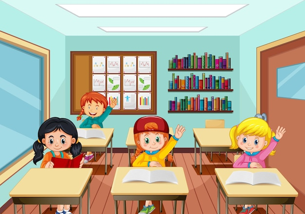 Scene with many kids studying in the classroom