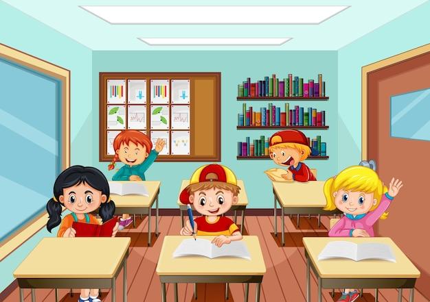 교실에서 공부하는 많은 아이들이 있는 장면