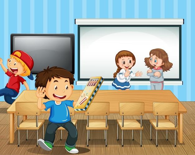 많은 학생들이 교실에 있는 장면