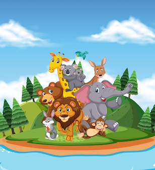 Scene with many wild animals by the river