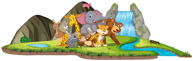 Scene with many wild animals by the waterfall at day time
