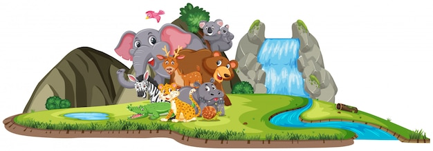 Scene with many wild animals by the waterfall on white