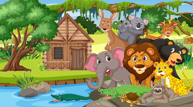 Scene with many wild animals in the forest