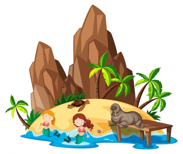 Scene with mermaid and sea animals