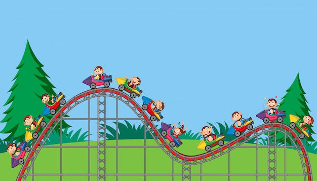 Scene with monkeys riding rockets in the park