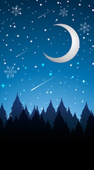 Scene with moon in winter illustration