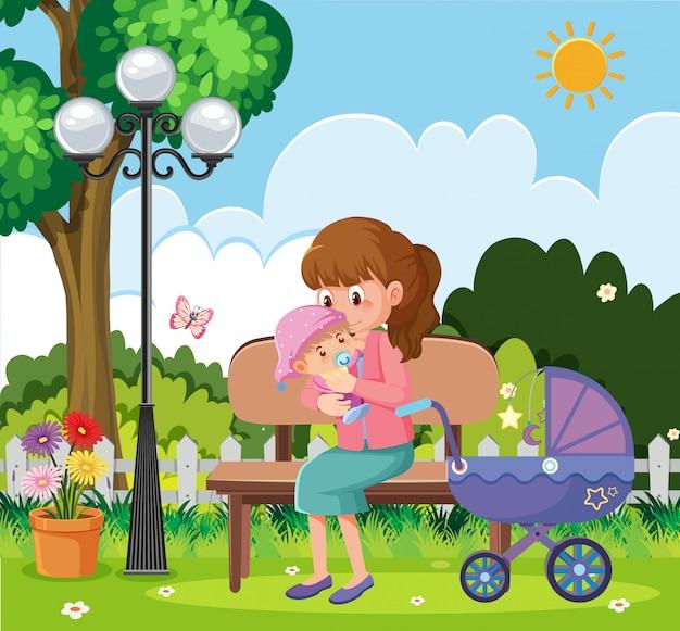 Сцена с матерью и ребенком, отдыхая в парке