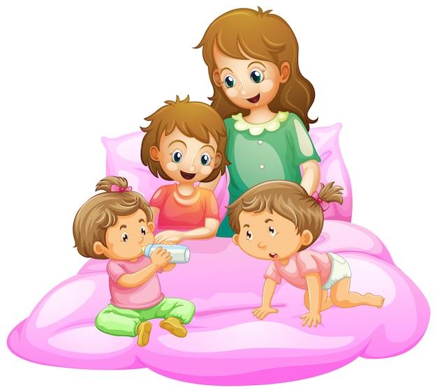 母親と子供たちがベッドの準備をしているシーン