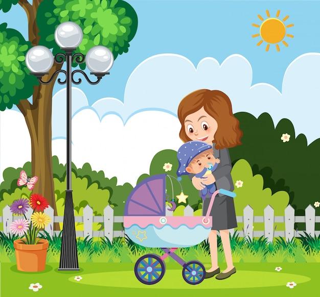 Сцена с мамой и маленьким ребенком в парке