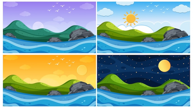 Scene with ocean at different times