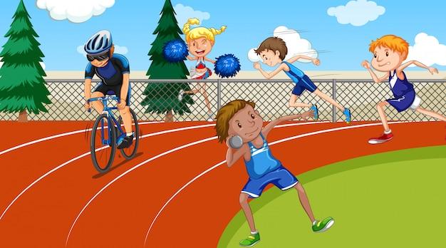 육상 스포츠를하는 사람들과 현장