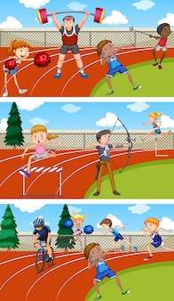 Scene with people doing track and field sports