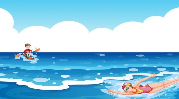 Сцена с людьми, занимающимися водными видами спорта в океане