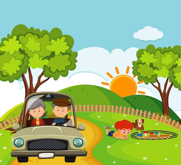公園で運転している人々とのシーン