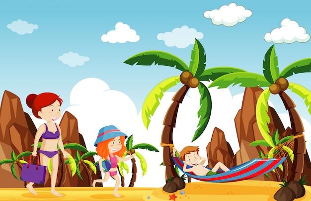 Сцена с людьми, болтающимися на пляже
