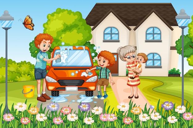 Сцена с людьми в семье, отдыхающими дома