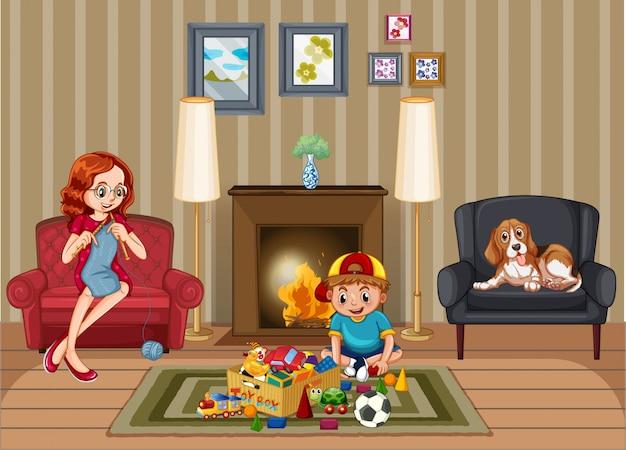 가족과 함께 집에서 휴식하는 사람들과 현장