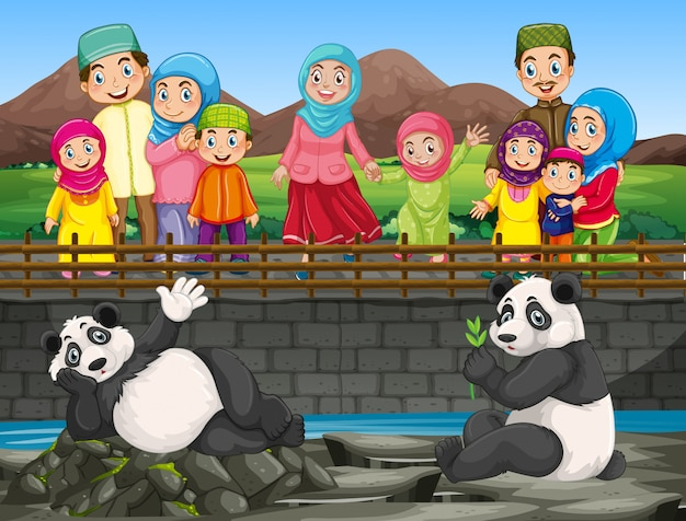 Scene with people looking at panda in the zoo