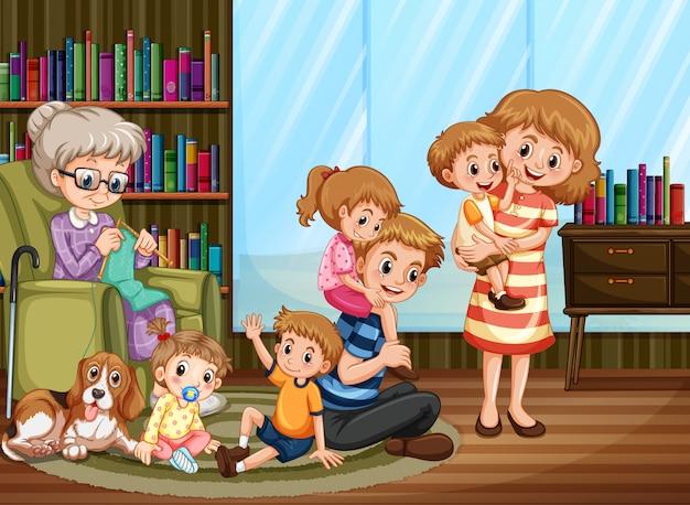 가족과 함께 집에있는 사람들과 함께하는 장면