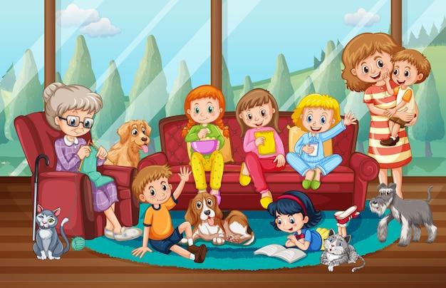 가족과 함께 집에 머무는 사람들이있는 장면