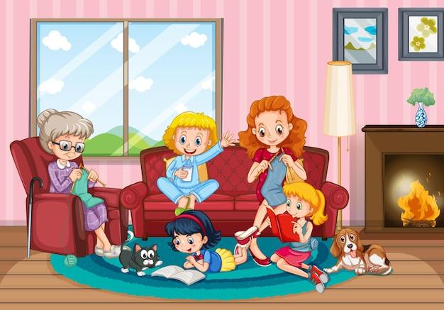家族と一緒に家にいる人のいるシーン