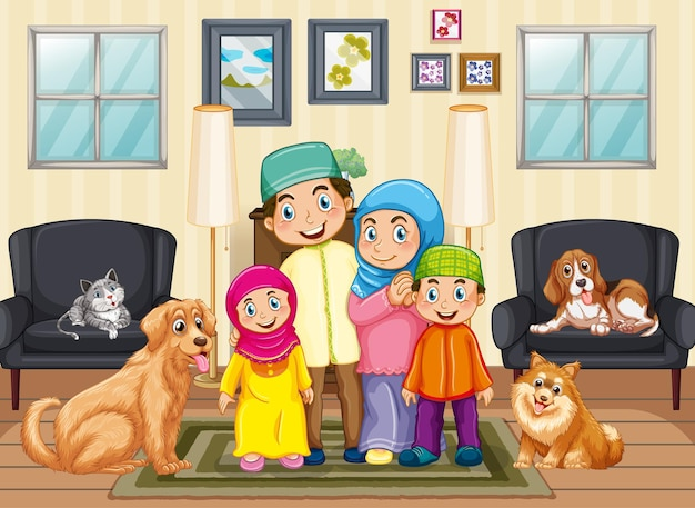 Scene with people staying at home with family