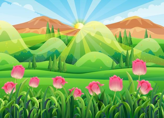 庭にピンクのチューリップがある場面