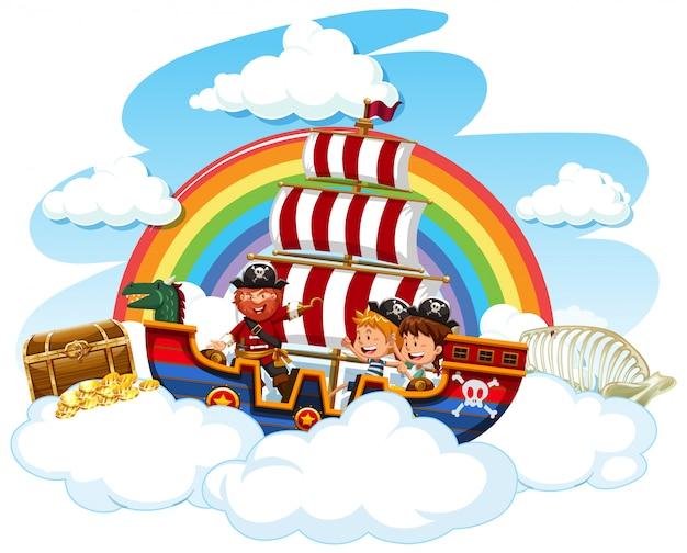 바이킹 배에 해적과 행복한 아이들이있는 장면