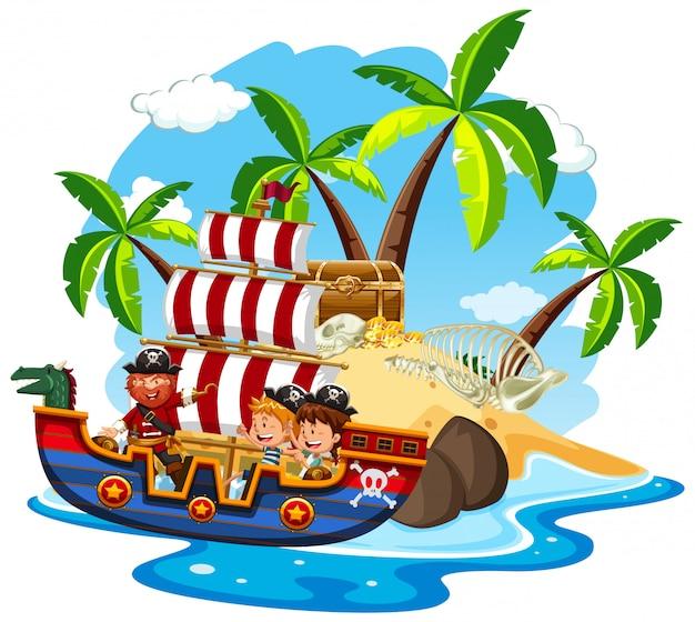 해적과 행복한 아이들이 바다에서 항해하는 장면