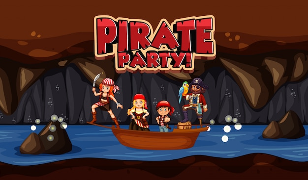 Scene  with pirate and crews in small boat and word  for pirate party