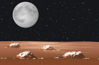 Сцена с планетой в галактике