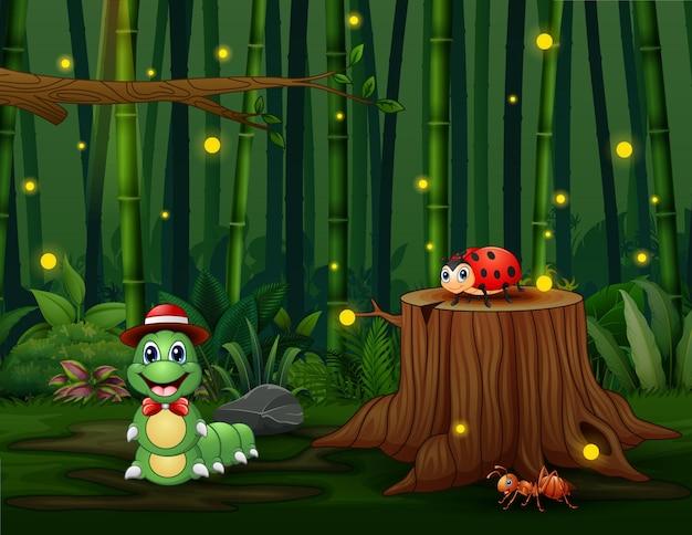 Сцена с растениями и насекомыми в саду иллюстрации
