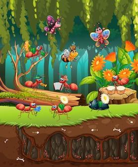 정원에서 식물과 곤충이있는 장면