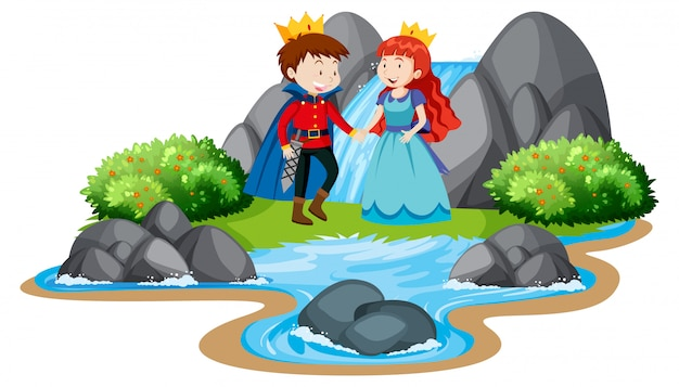 Scene with prince and princess by the waterfall