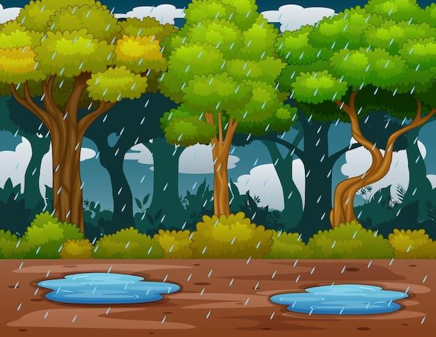 Сцена с дождем в лесу иллюстрации