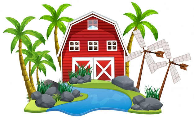 Scene with red barn and windmills on white background