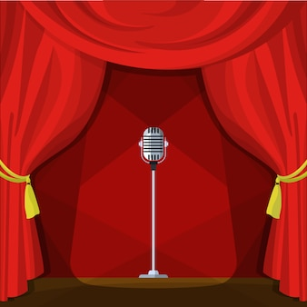 Scene with red curtains and retro microphone. vector illustration in cartoon style.