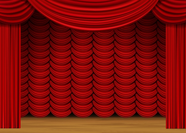 Scene with red curtains and wood floor