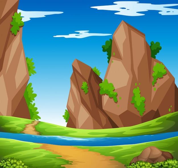 Scena con illustrazione di fiume e montagna