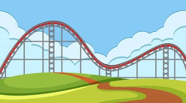 Scene with roller coaster track in the field