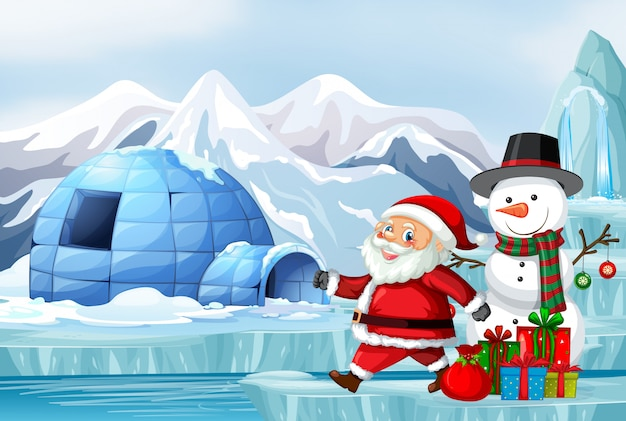 Scene with santa and snowman on christmas