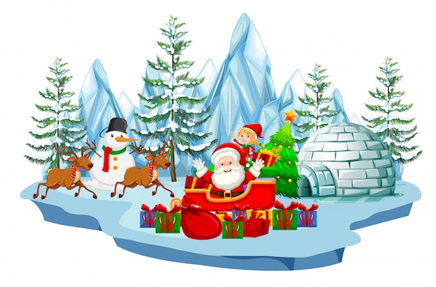 Scene with santa and snowman in winter time